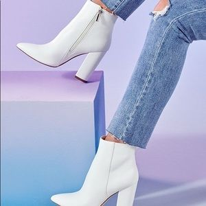 Just Fab White Booties. NWT. Runs Small Like a 8